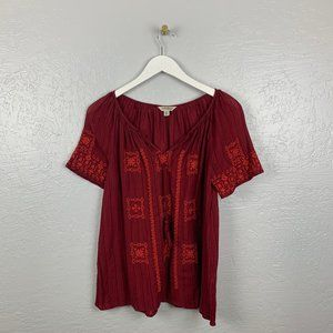 Lucky Brand XS Maroon Embroidered Top